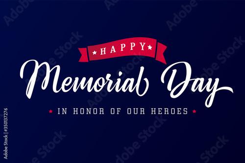 Fotografia, Obraz Happy Memorial Day lettering blue typography poster