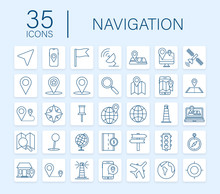 Navigation And Map Line Icons ...