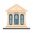 Bank finance building with columns vector colorful flat illustration icon isolated on white background. Banking finance building for money exchange, financial services, ATM, giving out money