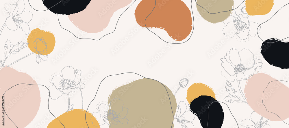 Fototapeta Abstract background vector with natural and floral line arts, Memphis style, Organic shape. Creative pattern with hand drawn shapes. Design background for social media post, cover, print and wallpaper