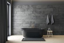 Minimalistic Gray Bathroom Int...