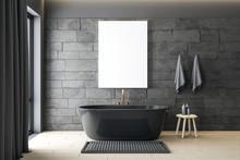Modern Gray Bathroom With Blan...