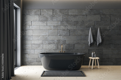 Minimalistic gray bathroom interior with decorative objects. Fototapeta