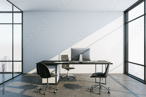 Obraz Contemporary office interior with computer and city view. - fototapety do salonu