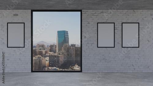 Triple Framed A1/A2/A3/A4 Framed City Studio Mockup on a White Brick Wall Canvas Print
