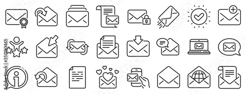 Newsletter, Email document, Correspondence icons Fototapet