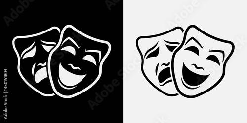 Theater masks. Vector illustration. icon Wallpaper Mural