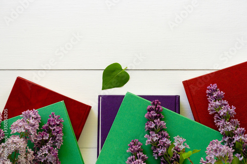 Various hardback books on a white background Fototapeta