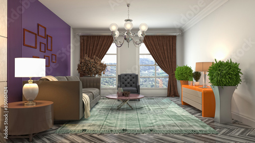 Interior of the living room. 3D illustration Canvas Print