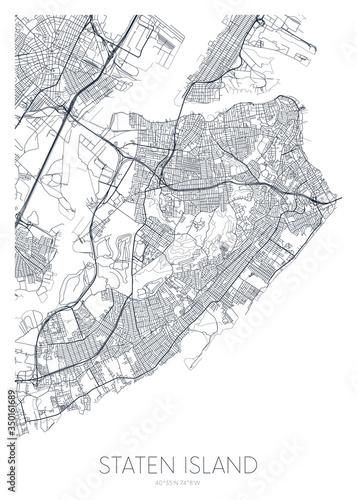 Detailed borough map of Staten Island New York city, vector poster or postcard f Fotobehang