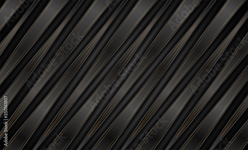 Fotografie, Obraz Abstract black bronze corporate graphic design with stripes and lines