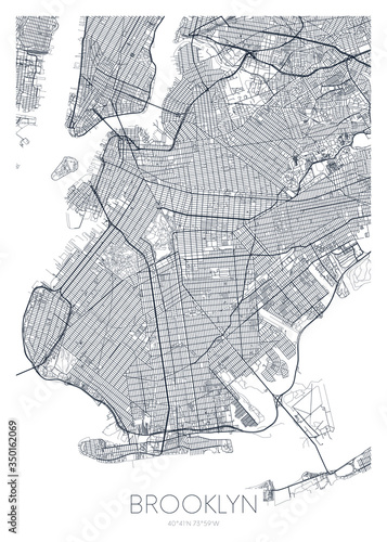 Detailed borough map of Brooklyn New York city, vector poster or postcard for ci Fotobehang