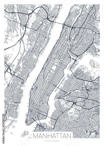 Detailed borough map of Manhattan New York city, vector poster or postcard for c Canvas-taulu