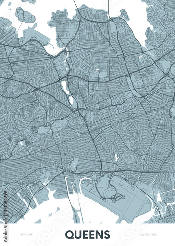 Valokuvatapetti Detailed borough map of Queens New York city, color vector city street plan, pri