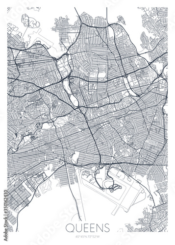 Slika na platnu Detailed borough map of Queens New York city, vector poster or postcard for city