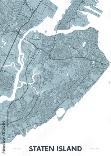 Valokuvatapetti Detailed borough map of Staten Island New York city, color vector city street pl