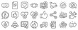 Set - Share network, Social links and Rating linear icons. Social media line icons. Heart, Feedback smile emotion and internet media. Share network, like icon, video content rating and dislike. Vector