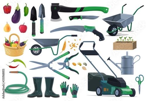 Valokuva Gardening, farming equipment and tools, vector objects