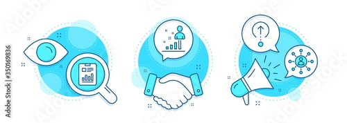 Obraz Stats, Networking and Report document line icons set. Handshake deal, research and promotion complex icons. Swipe up sign. Business analysis, Business communication, Page with charts. Vector - fototapety do salonu