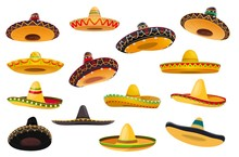 Mexican Sombrero Hat Isolated Objects Of Vector Fiesta Party And Cinco De Mayo Holiday Design. Mariachi Musician Or Charro Cowboy Cartoon Sombrero Hats, Decorated With Ethnic Ornaments, Ball Fringes