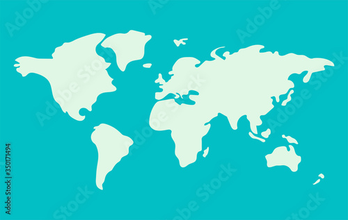 Photo approximate abstract World map in green colors