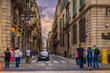Leinwanddruck Bild Old street in Barcelona, Catalonia, Spain. Architecture and landmark of Barcelona. Cozy cityscape of Barcelona