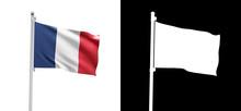 French Flag On Pole. Symbol Of...