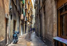 Old Narrow Street In Barcelona...