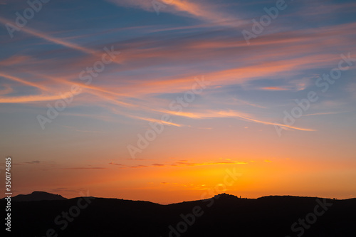 Valokuvatapetti Sunset over village of Sant'Antonino in Corsica