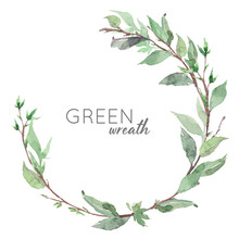 Hand Drawn Watercolor Green Leaves Wreath