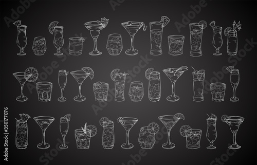 Cocktail drinks set in different glass in hand drawn sketch style Wallpaper Mural