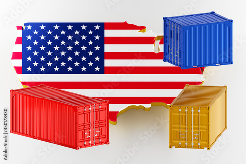 Fototapeta 3D map of USA. Freight shipping in containers. Export from the country in containers. 3d rendering obraz