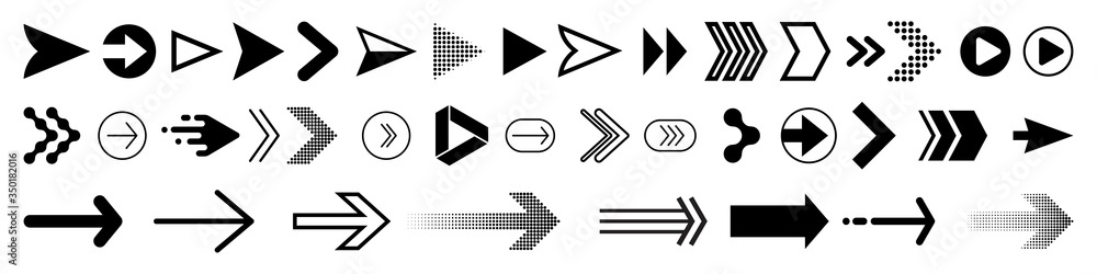 Fototapeta Arrows icons set, modern simple flat black vector pointer signs. Arrow icon set for forward click buttons, web design arrow navigation and apps elements