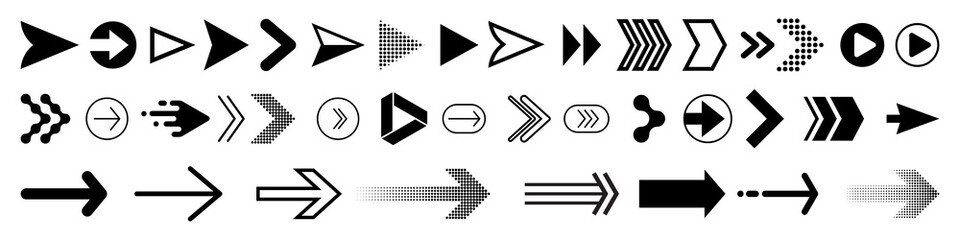 Arrows icons set, modern simple flat black vector pointer signs. Arrow icon set for forward click buttons, web design arrow navigation and apps elements