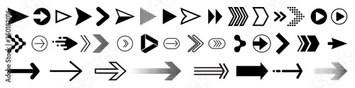 Leinwand Poster Arrows icons set, modern simple flat black vector pointer signs