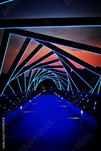 Fotografie, Tablou Illuminated High Trestle Trail Against Sky At Sunset