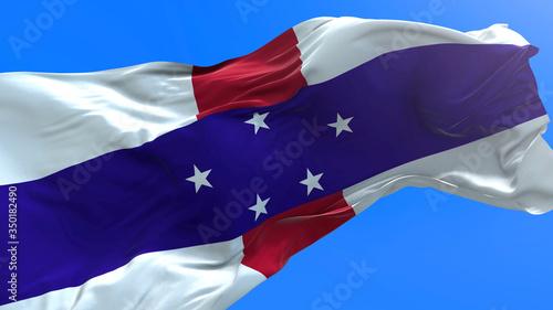 Netherlands Antilles flag - 3D realistic waving flag background Wallpaper Mural
