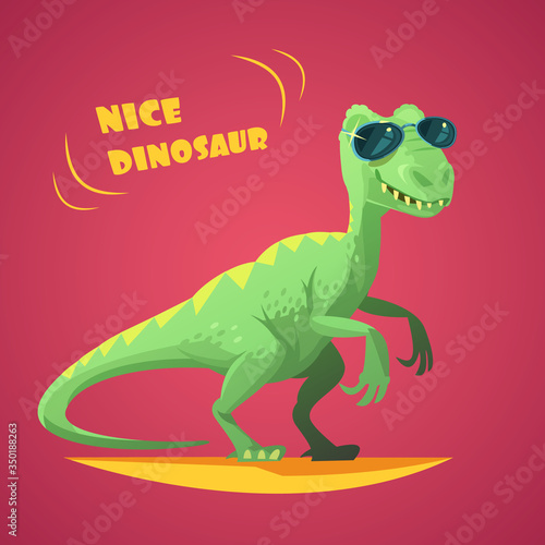 Photo Dinosaurus Cartoon Toy Red Background Poster