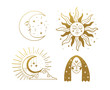 Set of beautiful golden mystical elements in boho style, sun and crescent with a face, the moon, a female face with stars. Elements for design, tattoo, sticker. Linear vector illustration isolated on