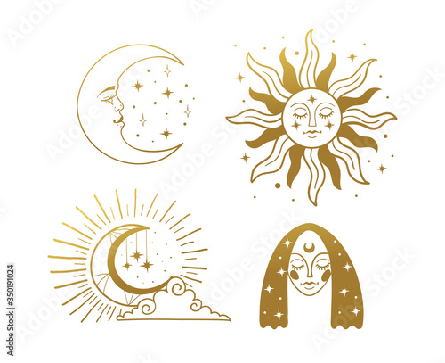 Fototapeta Set of beautiful golden mystical elements in boho style, sun and crescent with a face, the moon, a female face with stars. Elements for design, tattoo, sticker. Linear vector illustration isolated on obraz