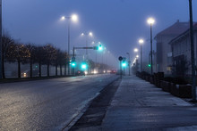 City Landscape At Foggy Night....