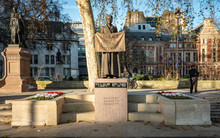 A Statue Of The English Suffragist And Union Leader Millicent Fawcett, An Early Feminist Campaigner For Women's Suffrage.