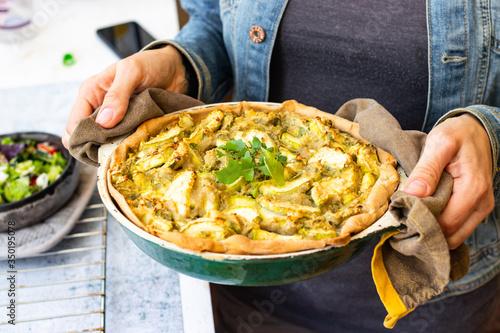 Obraz na plátně Vegetable casserole or tart with potato and zucchini