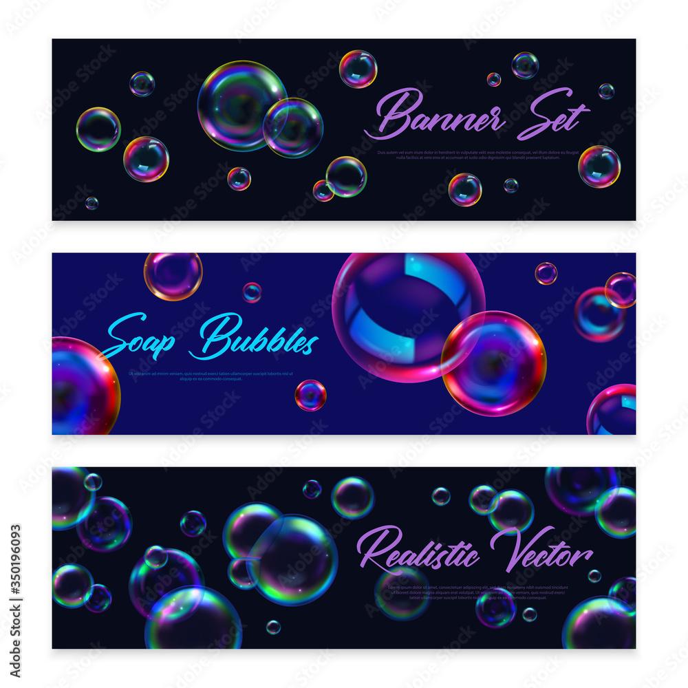 Fototapeta Soap Bubbles Banners Set