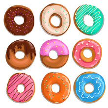 Set Of Cartoon Donuts. Top View. Comic Style. Different Types, Glazed, With Sprinkes, Iced And Chocolate. Vector Illustrations Isolated On White Background.