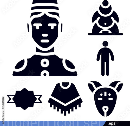 Photo Ancestry related filled vector icons