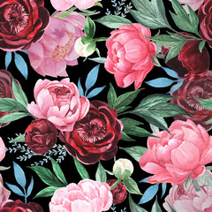 Fototapeta Ogrody Colorful watercolor peonies on black background. Hand painted seamless pattern. Floral endless pattern for surface design. Seamless pattern with large watercolor flower peonies.