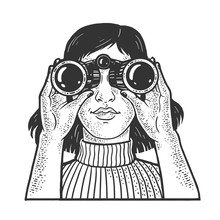 Girl Looking Through Binoculars Sketch Engraving Vector Illustration. T-shirt Apparel Print Design. Scratch Board Imitation. Black And White Hand Drawn Image.