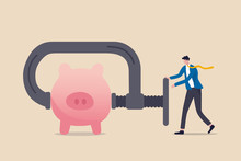 Business Or Company Cut Budget Or Squeeze And Reduce Spending Due To Business Or Economic Crisis In COVID-19 Coronavirus Recession Concept, Businessman Using Clamp To Squeeze Saving Pink Piggy Bank