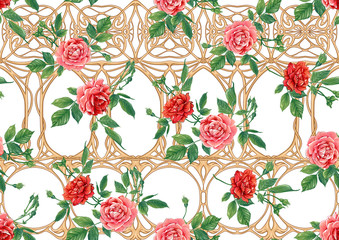 Panel Szklany Podświetlane Vintage Vintage roses in a decorative imitation of a wicker basket made of twigs seamless pattern, background in art nouveau style, old, retro style. Colored vector illustration
